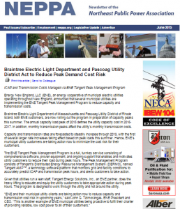 NEPPA Article June 2015 - Braintree Electric Light Department and Pascoag Act to Reduce Peak Demand Cost Risk